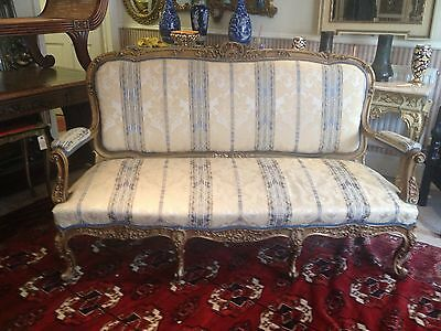 Stunning Antique French Louis Style Carved Sofa Shabby Chic Salon Settee