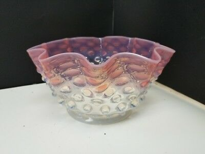 Antique Glass Hobnail Pink and Clear Shade