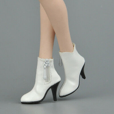 1/6 White Zipped High Heel Ankle Boots Shoes for 12'' Hot Toys Phicen Kumik