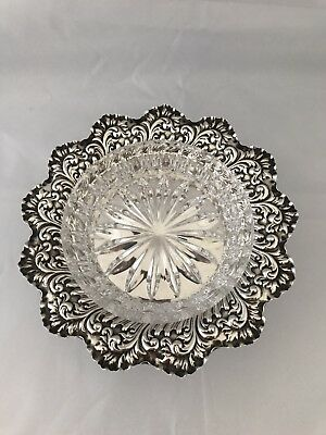 Victorian Silver Dish & Glass Liner 1897 Sheffield
