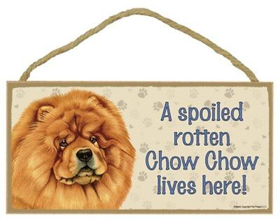 "A Spoiled Rotten Chow Chow lives here! Cute Dog Sign 5""x10""  NEW Wood Plaque 175"