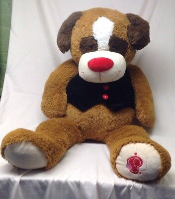 """KellyToy Plush Dog 48"""" Extra Large Puppy With A Bow Tie And Vest.   W3"""