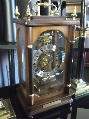 Stunning Passing Strike Hermle Limited Ed Skeleton Clock Ebony & Mahogany