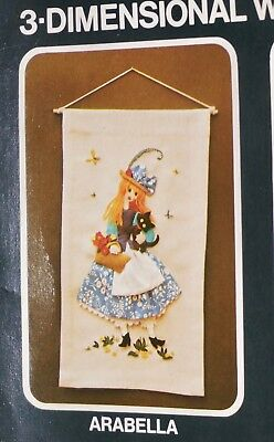 Vintage 3D Wall Picture Craft Kit Girl With Black Cat By Golden Home
