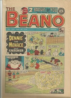 Vintage Beano Comic book from March 1978 #1859