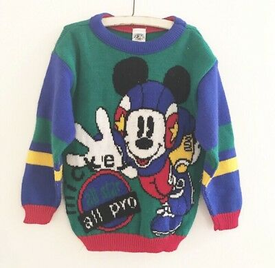 Vintage Mickey Mouse Kids Sweater Mickey & Co Football All Pro Size 6 Medium