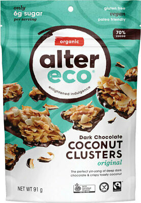 Organic Dark Chocolate Coconut Clusters - Original 91g - Alter Eco