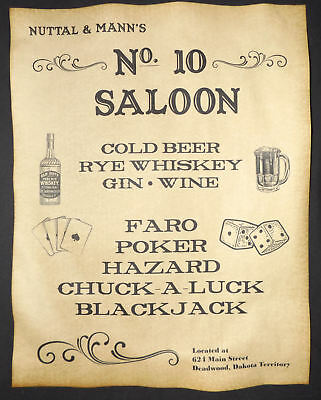 Nuttal & Mann's No. 10 Saloon ad poster old west, western wild bill hickok