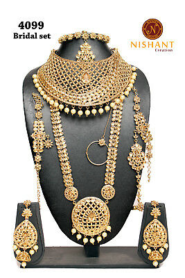 9pcs Bridal Necklace Set Green Pearl Lct Gold Kundan Polki Dance Padmavat Eid Selected Material Jewelry & Watches