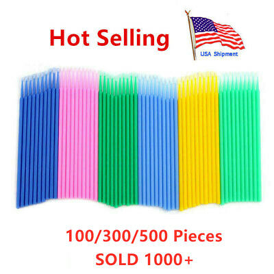 300/500pc Disposable  Makeup Micro Brush Swab Applicators Eyelash Mascara Wand