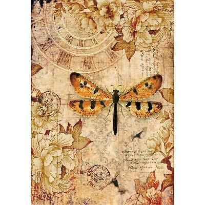 Stamperia Rice Paper Sheet ~ MIXED MEDIA DRAGONFLY ~ A4 size One Sheet