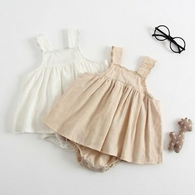 Kids Baby Sleevelss Cotton Linen Romper Girls Summer Tutu Dress Jumpsuit 0-24M