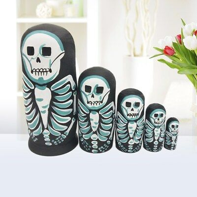 5Pcs/set Skeleton Dolls Russian Nesting Babushka Matryoshka Collection Toys New