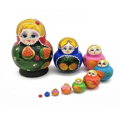 10Pcs Cute Strawberry Adorable Colorful Russian Stacking Dolls Collection Toy
