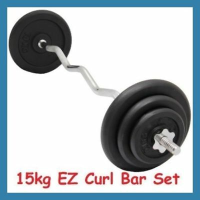 15kg EZ Curl Bar + Cast Iron Weight Set 120cm Barbell Bicep Curl