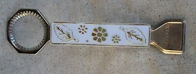 Vintage TRAVCO Bottle and Tab Opener White Flower and Leaf Plastic Handle