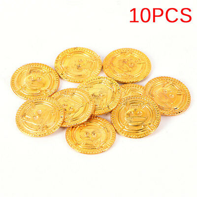10PCS Plastic Pirate Gold Play Coins Birthday Party Favors Treasure Coin  X