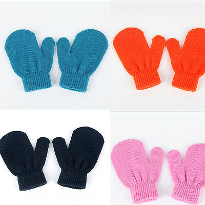 Baby Unisex Knitting Warm Soft Gloves Kids Boys Girls Candy Colors Mittens FE