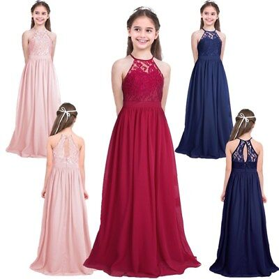 Kids Girl Flower Chiffon Dresses Princess Pageant Formal Party Wedding Long Gown