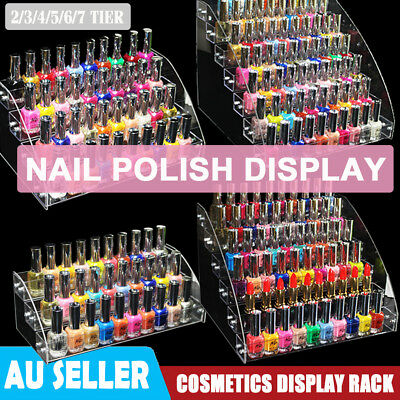2/3/4/5/6/7 Tier Clear Acrylic Nail Polish Cosmetics Display Stand Rack Organise