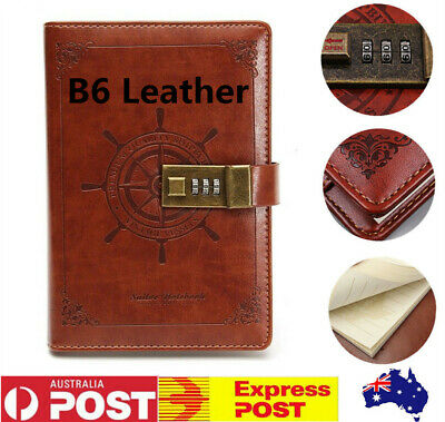 B6 Leather Note Book Rudder Brown Blank Diary Book Combination Lock Gift