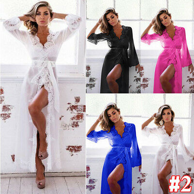 Women Long Satin Robe Dressing Gown Bridal Wedding Bride Bridesmaid Sleepwear NG