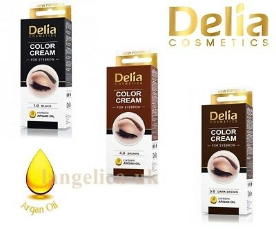 Professional Delia Henna Color Cream Eyebrow Tint Kit Set Black Dark