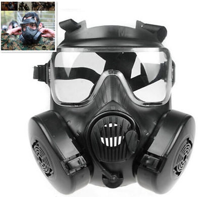 M50 Gas Mask CS Tactical Airsoft Paintball Protection Dual Fan Full Face Mask