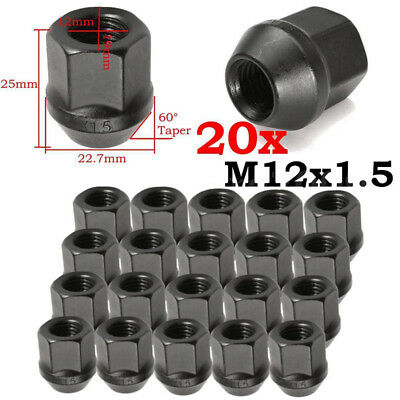 20x M12X1.5MM OPEN END EXTENDED TUNER RACING WHEEL LUG NUTS Black 19mm 3/4 Hex