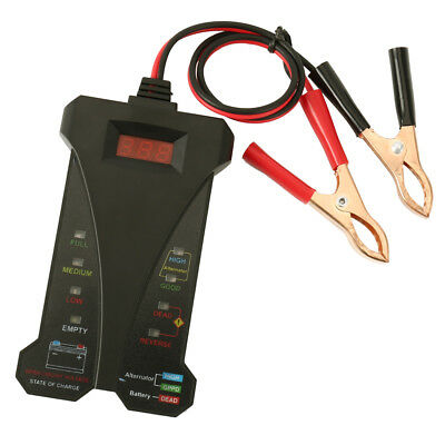 12V Digital Battery Alternator Tester LED Display Volt Check Car Motorcycle Tool