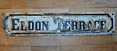 Old Cast Iron Street Sign ELDON TERRACE Reclaimed Antique Painted