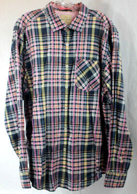 28db0d56 Tommy Bahama Jeans Mens Shirt Button Front Long Sleeve Blue Pink Plaid XL