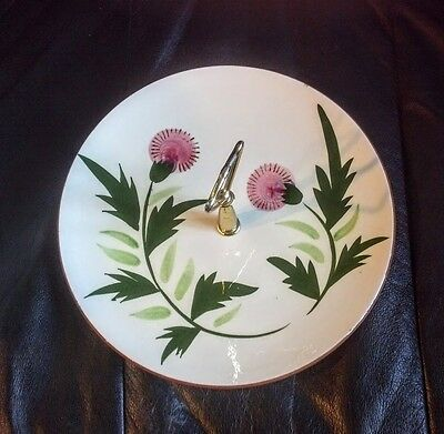 Vintage Stangl Pink Thistle Tid Bit tray dish with handle.