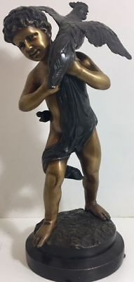 Bronze Statue of a Boy holding a Rooster - Late 20th Century - good condition