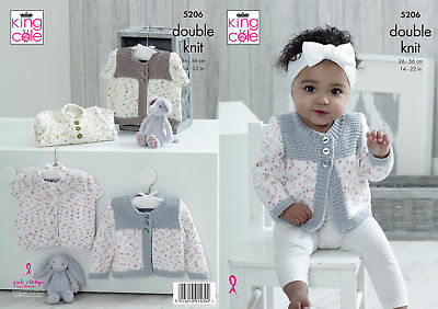 Baby Double Knitting Pattern Long or Cap Sleeved Cardigan King Cole DK 5206