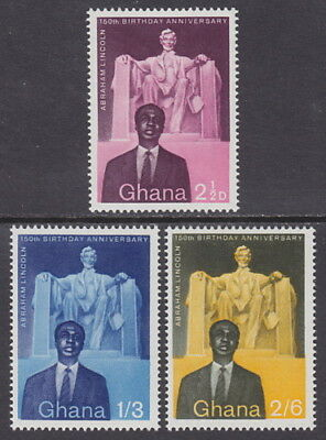 GHANA - 1959 150th Birth Anniversary of Abraham Lincoln (3v) - UM / MNH
