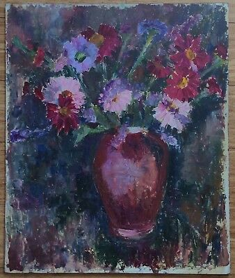 Large oil on board still life painting of a vase of flowers - chrysanthemums ?