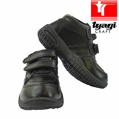 Boys School Uniform Shoes Black Child STICK Leather Back-to-School Comfort