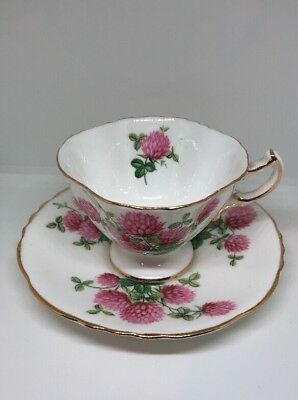 Vintage Hammersley & Co Bone China Pink Floral & 24K Gold Trim Teacup & Saucer