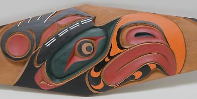 """Large carved paddle signed """"Troy Roberts Thunderbird April 2, 2006""""  62 1/2"""""""