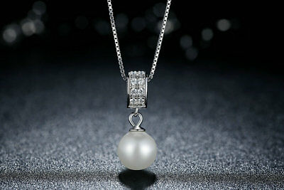 925 Sterling Silver Crystal Pearl Pendant Necklace Chain Jewellery Women Gift