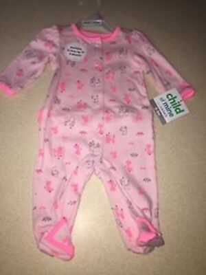 d570bf368 Child of Mine by Carter's Newborn Baby Girl Microfleece Button Up Sleep 'N  Play