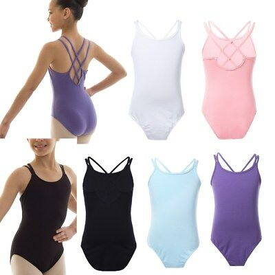 Girls Double Strap Leotard Criss Cross Back Ballet Dancewear Gymnastics Costume