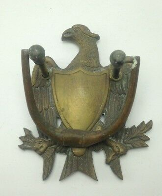 Vintage 1930s Brass Federal American Eagle Shield Door Knocker 7""