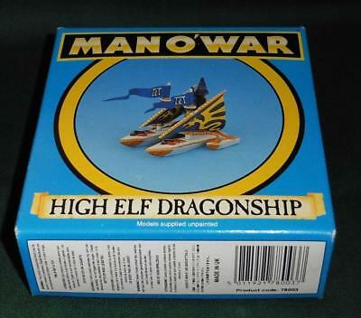 OOP Citadel GW Man O' War metal painted High Elf Dragonship flagship & box.