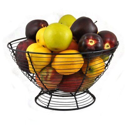 Pedestal Black Wire & Mesh Fruit Basket, Table Top Wire Fruit Bowl