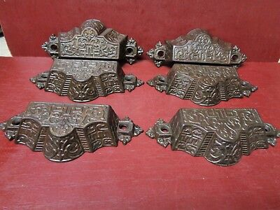 6 Antique Fancy Cast Iron Bin Pulls Cabinet Drawers #1