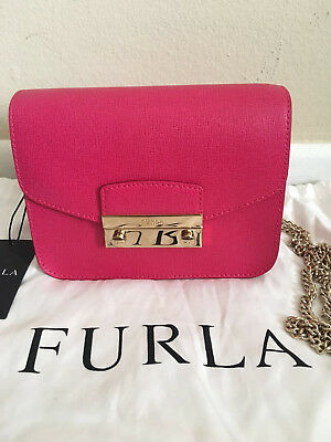 31ff1217a2f485 NEW FURLA JULIA Pink Gloss Saffiano Leather Crossbody Mini Bag ...