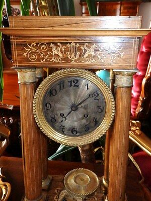 Original Old French Mantel Clock With 4 Columns