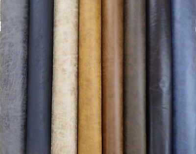 Distressed Faux Leather Suede Upholstery Fabric 6 Colours New